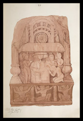Drawing of sculpture on the stupa rail at Bodhgaya (Bihar), made by Kittoe during his investigation of the site. January 1847. 17